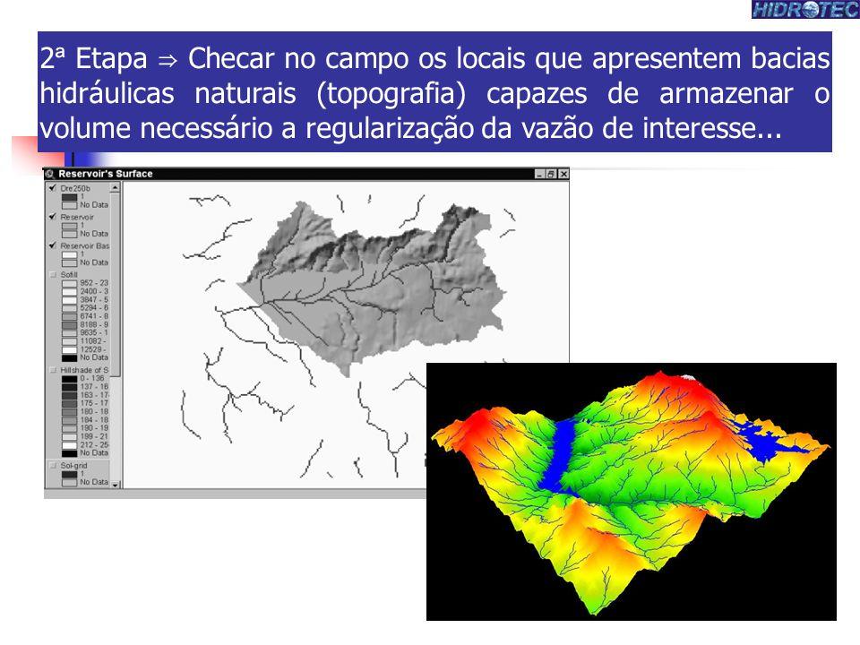 2 ª Etapa Checar no campo os locais que apresentem bacias hidráulicas naturais (topografia) capazes de armazenar o volume necessário a regularização da vazão de interesse...