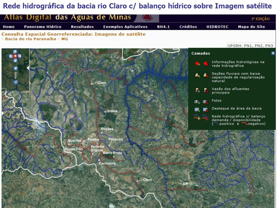 Rede hidrográfica da bacia rio Claro c/ balanço hídrico sobre Imagem satélite