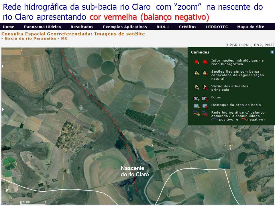 cor vermelha (balanço negativo) Rede hidrográfica da sub-bacia rio Claro com zoom na nascente do rio Claro apresentando cor vermelha (balanço negativo) Nascente do rio Claro