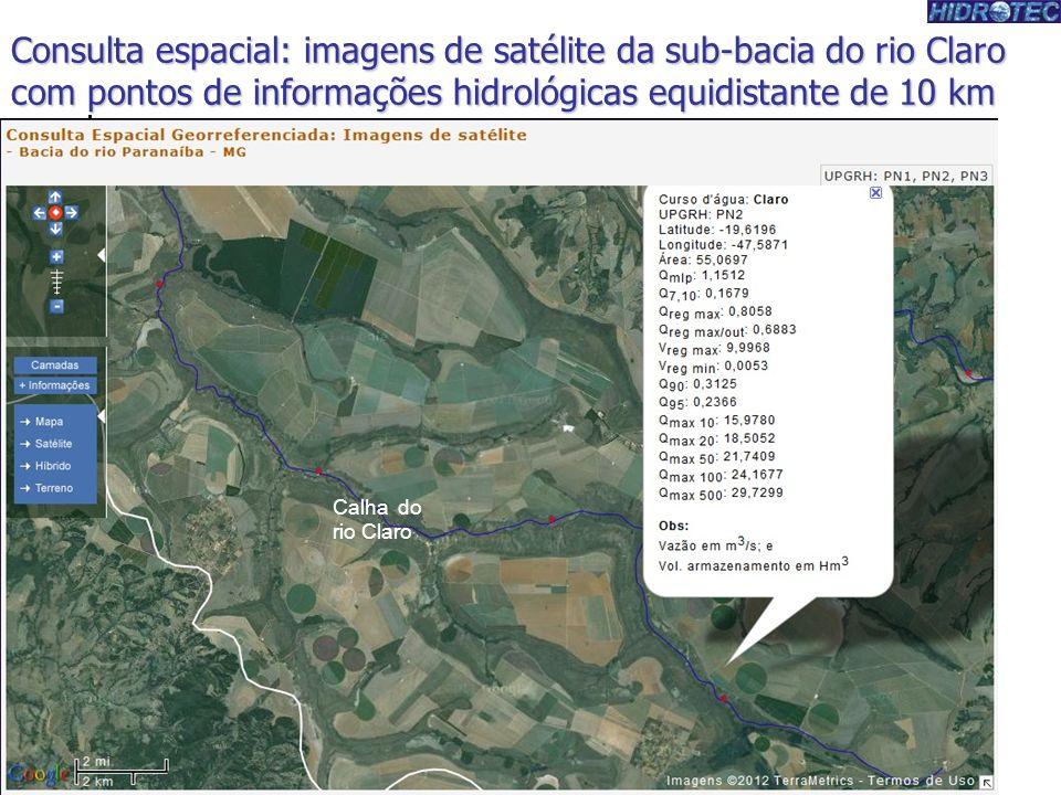 Consulta espacial: imagens de satélite da sub-bacia do rio Claro com pontos de informações hidrológicas equidistante de 10 km Calha do rio Claro