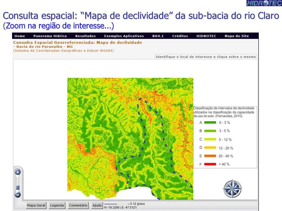 Consulta espacial: Mapa de declividade da sub-bacia do rio Claro (Zoom na região de interesse...)