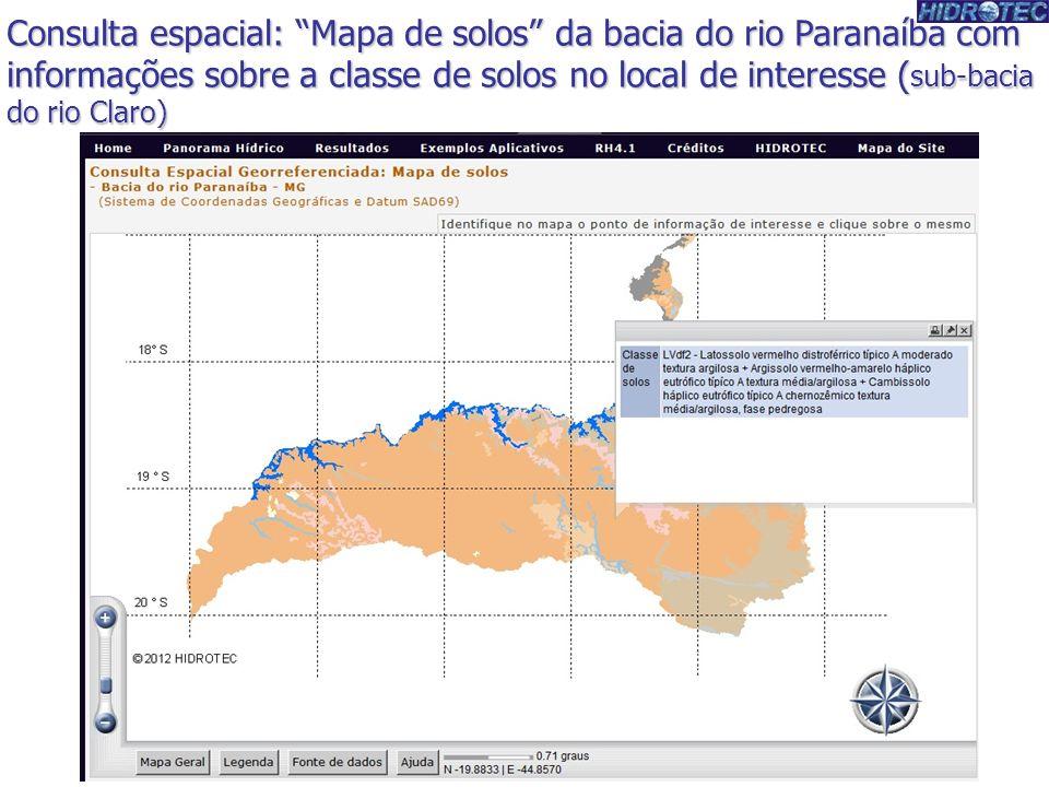 Consulta espacial: Mapa de solos da bacia do rio Paranaíba com informações sobre a classe de solos no local de interesse ( sub-bacia do rio Claro)