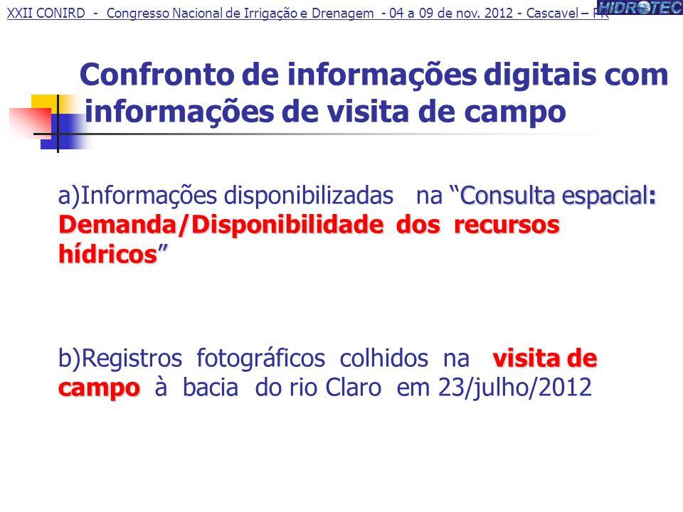 Confronto de informações digitais com informações de visita de campo Consulta espacial: Demanda/Disponibilidade dos recursos hídricos a)Informações di