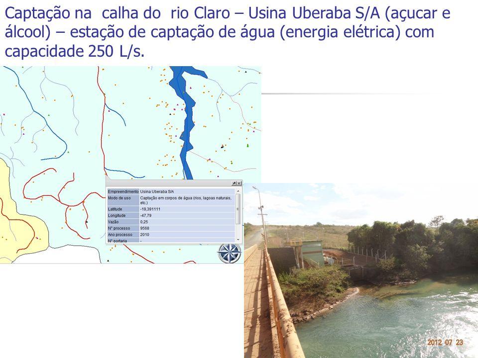 Captação na calha do rio Claro – Usina Uberaba S/A (açucar e álcool) – estação de captação de água (energia elétrica) com capacidade 250 L/s.