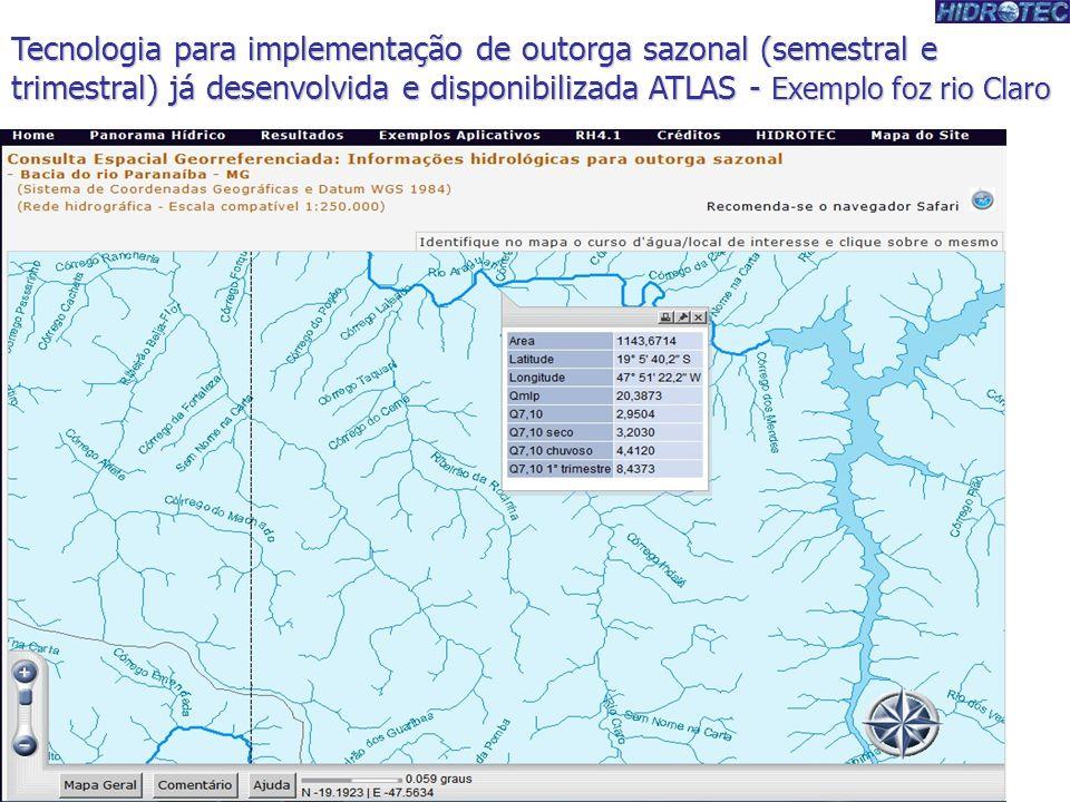 Tecnologia para implementação de outorga sazonal (semestral e trimestral) já desenvolvida e disponibilizada ATLAS - Exemplo foz rio Claro