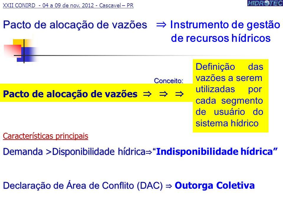 Características principais Demanda >Disponibilidade hídrica Demanda >Disponibilidade hídrica Indisponibilidade hídrica Declaração de Área de Conflito (DAC) Declaração de Área de Conflito (DAC) Outorga Coletiva Pacto de alocação de vazões Pacto de alocação de vazões Instrumento de gestão de recursos hídricos Pacto de alocação de vazões Definição das vazões a serem utilizadas por cada segmento de usuário do sistema hídrico XXII CONIRD - 04 a 09 de nov.