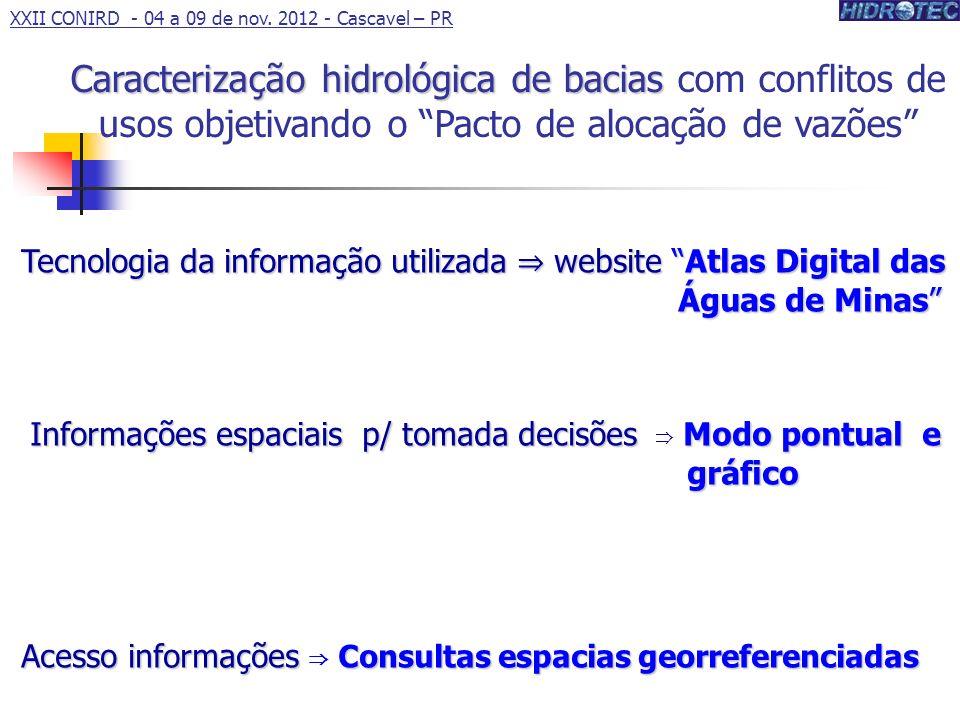 Tecnologia da informação utilizada website Atlas Digital das Águas de Minas Informações espaciais p/ tomada decisões Modo pontual e gráfico Informaçõe