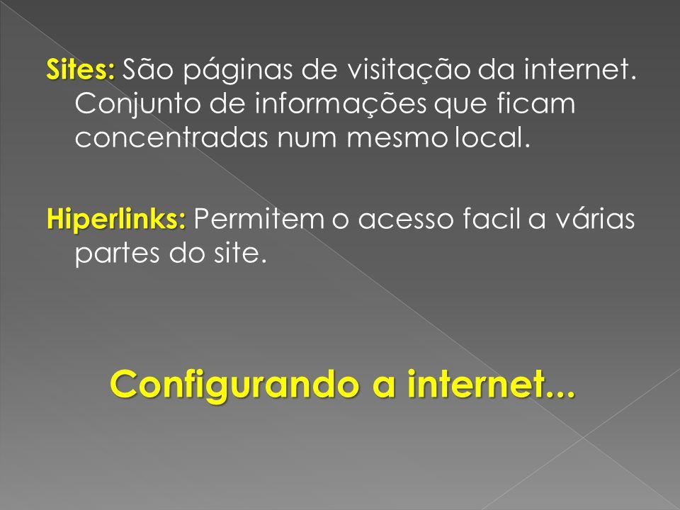 Sites: Sites: São páginas de visitação da internet. Conjunto de informações que ficam concentradas num mesmo local. Hiperlinks: Hiperlinks: Permitem o