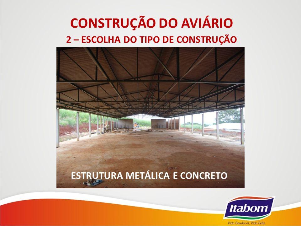 ESTRUTURA METÁLICA E CONCRETO CONSTRUÇÃO DO AVIÁRIO 2 – ESCOLHA DO TIPO DE CONSTRUÇÃO