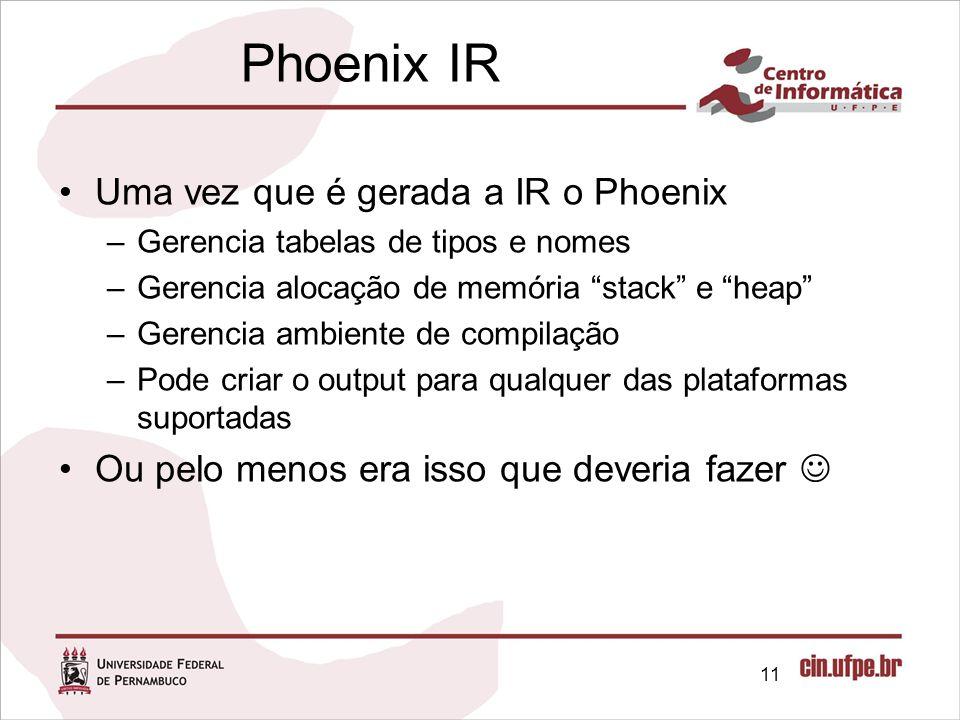 Phoenix IR Uma vez que é gerada a IR o Phoenix –Gerencia tabelas de tipos e nomes –Gerencia alocação de memória stack e heap –Gerencia ambiente de com