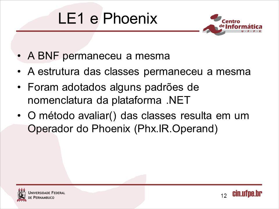 LE1 e Phoenix A BNF permaneceu a mesma A estrutura das classes permaneceu a mesma Foram adotados alguns padrões de nomenclatura da plataforma.NET O mé