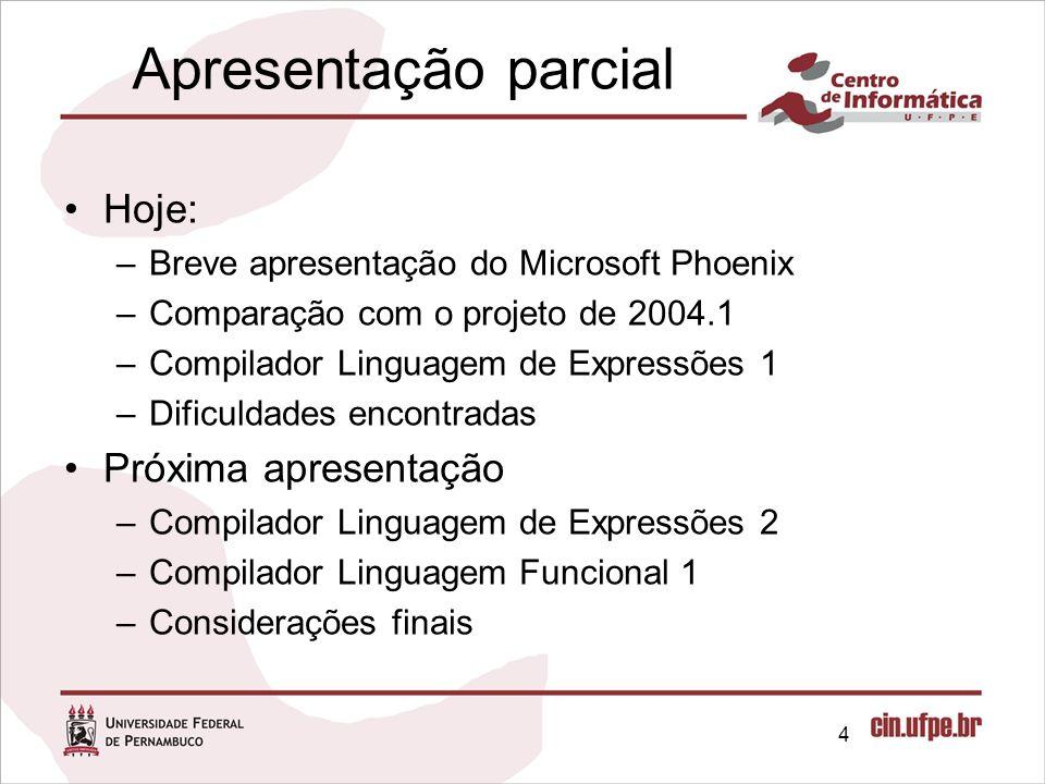 Apresentação parcial Hoje: –Breve apresentação do Microsoft Phoenix –Comparação com o projeto de 2004.1 –Compilador Linguagem de Expressões 1 –Dificul