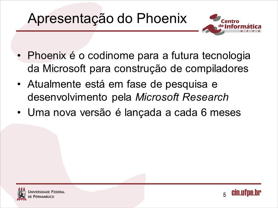 Apresentação do Phoenix Phoenix é o codinome para a futura tecnologia da Microsoft para construção de compiladores Atualmente está em fase de pesquisa