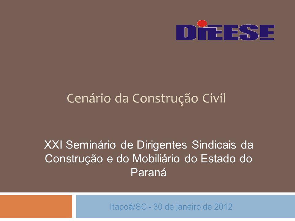 Cenário da Construção Civil Itapoá/SC - 30 de janeiro de 2012 XXI Seminário de Dirigentes Sindicais da Construção e do Mobiliário do Estado do Paraná