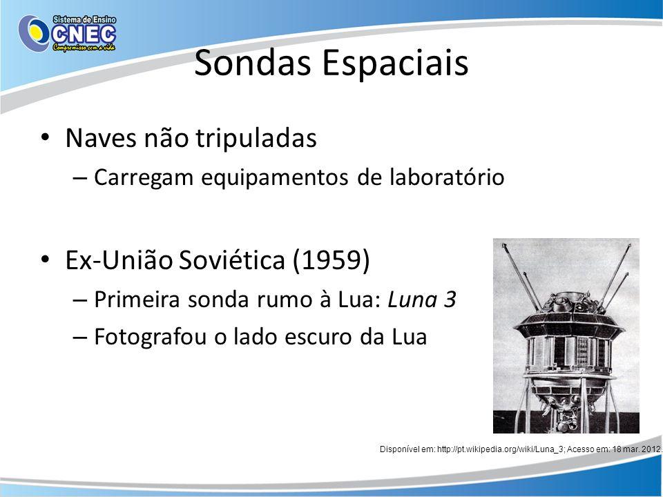 Sondas Espaciais Naves não tripuladas – Carregam equipamentos de laboratório Ex-União Soviética (1959) – Primeira sonda rumo à Lua: Luna 3 – Fotografo