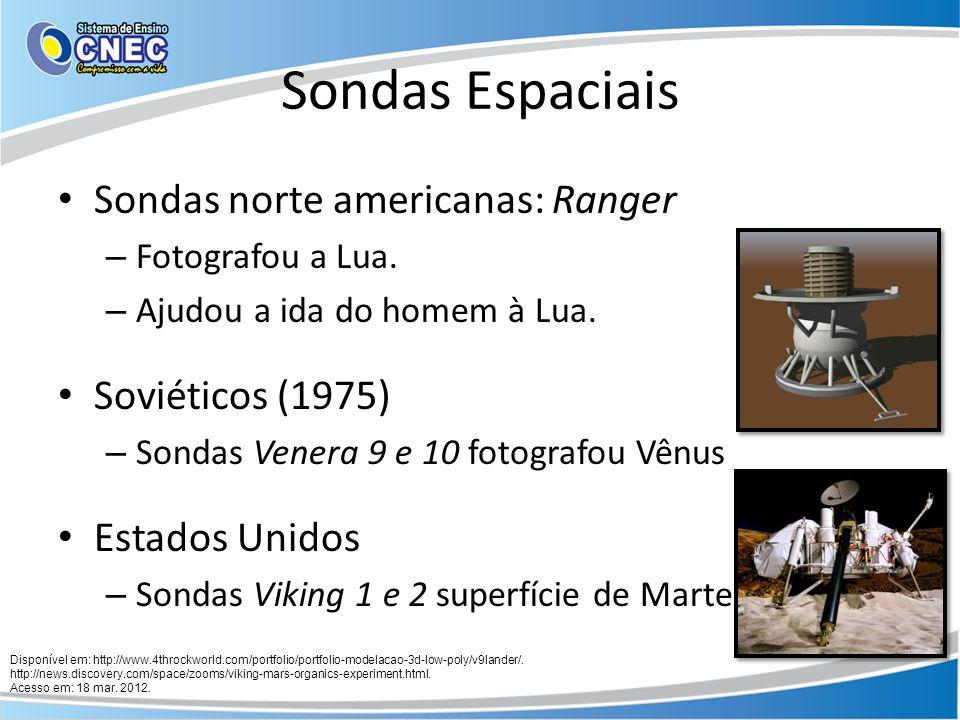 Sondas Espaciais Sonda Mars Pathfinder (1995) – 1º veículo a se locomover fora da Terra – Carregava um robô: Sojourner – Missões em Marte: Tirar fotos do planeta Amostras de rochas e solo Análise da atmosfera Velocidade dos ventos Radiação e campo magnético Disponível em: http://en.wikipedia.org/wiki/File:Sojourner_on_Mars_PIA01122.jpg.