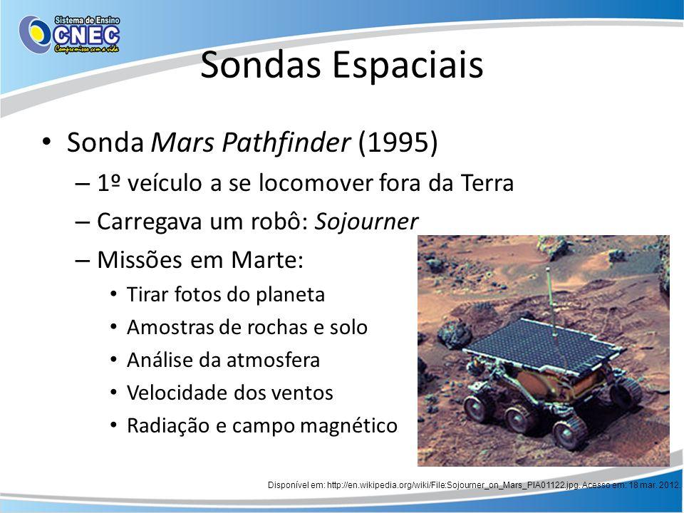 Sondas Espaciais Sonda Mars Pathfinder (1995) – 1º veículo a se locomover fora da Terra – Carregava um robô: Sojourner – Missões em Marte: Tirar fotos