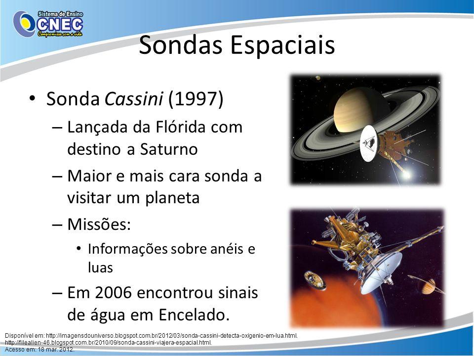Sondas Espaciais Sondas Pioneer 10 e 11 (1974) – Mandadas à Júpiter – Percebeu partículas elétricas ao redor do astro Sondas Voyager 1 e 2 (1979) – Comprovaram a presença de anéis – 10 novas luas em Urano – 6 das 8 luas de Netuno
