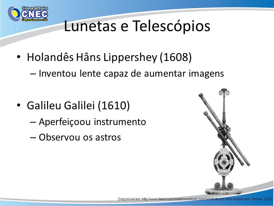 Lunetas e Telescópios Holandês Hâns Lippershey (1608) – Inventou lente capaz de aumentar imagens Galileu Galilei (1610) – Aperfeiçoou instrumento – Ob