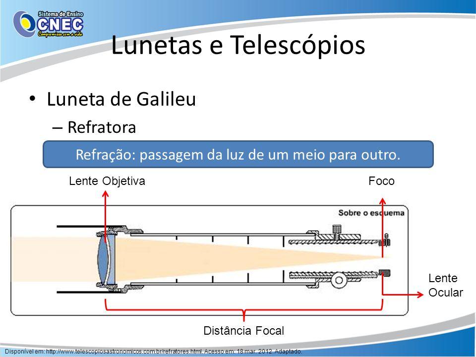 Lunetas e Telescópios Desvantagem: aberração cromática Galileu Atuais Disponível em: http://www.telescopiosastronomicos.com.br/refratores.html.