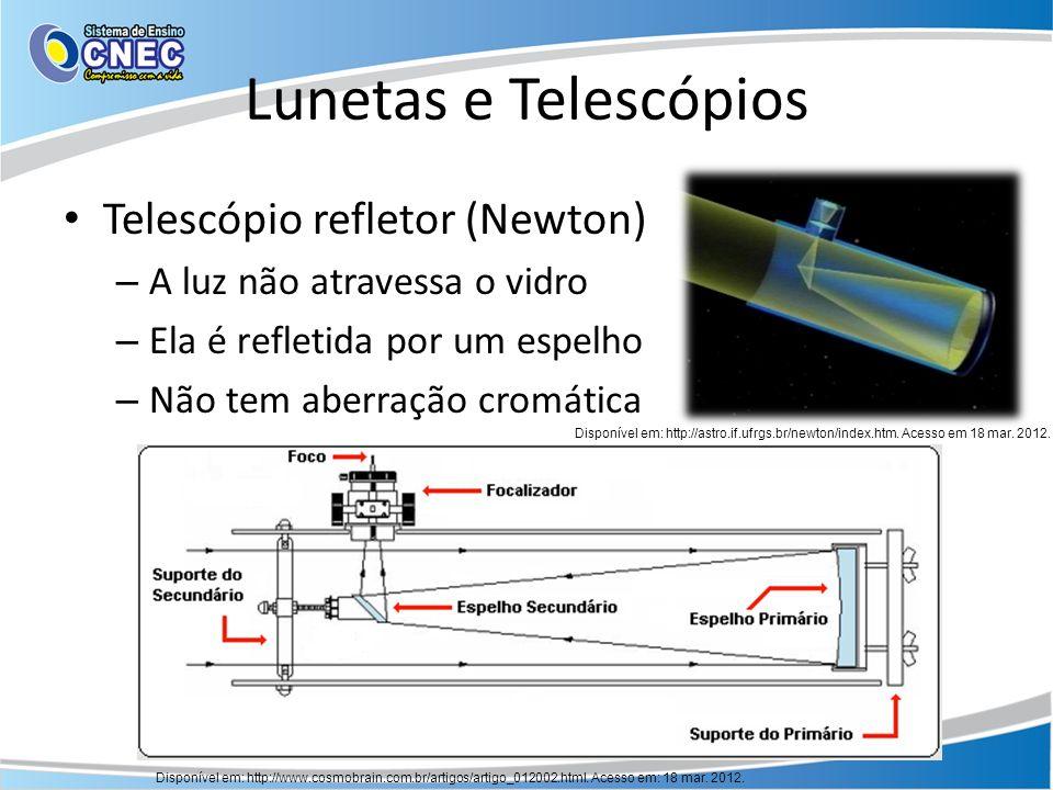 Lunetas e Telescópios Telescópio refletor (Newton) – A luz não atravessa o vidro – Ela é refletida por um espelho – Não tem aberração cromática Dispon