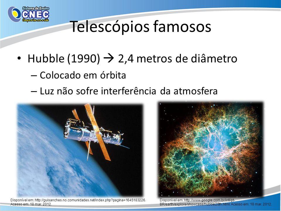 Telescópios famosos Hubble (1990) 2,4 metros de diâmetro – Colocado em órbita – Luz não sofre interferência da atmosfera Disponível em: http://guisanc