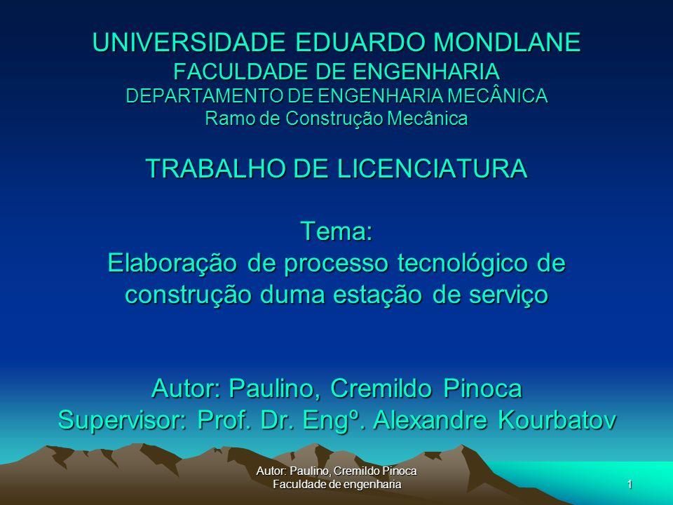 Autor: Paulino, Cremildo Pinoca Faculdade de engenharia1 UNIVERSIDADE EDUARDO MONDLANE FACULDADE DE ENGENHARIA DEPARTAMENTO DE ENGENHARIA MECÂNICA Ram