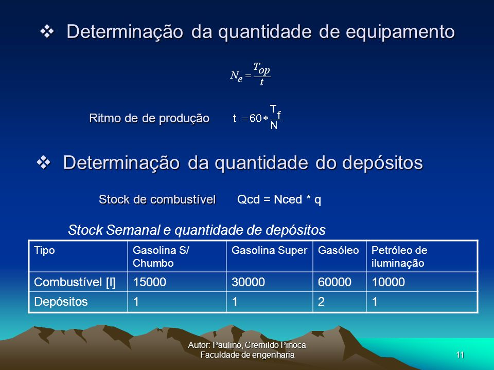 Autor: Paulino, Cremildo Pinoca Faculdade de engenharia11 Determinação da quantidade de equipamento Determinação da quantidade de equipamento Qcd = Nc