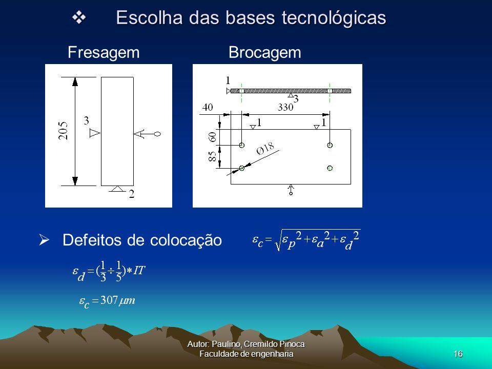 Autor: Paulino, Cremildo Pinoca Faculdade de engenharia16 Defeitos de colocação Escolha das bases tecnológicas Escolha das bases tecnológicas Fresagem
