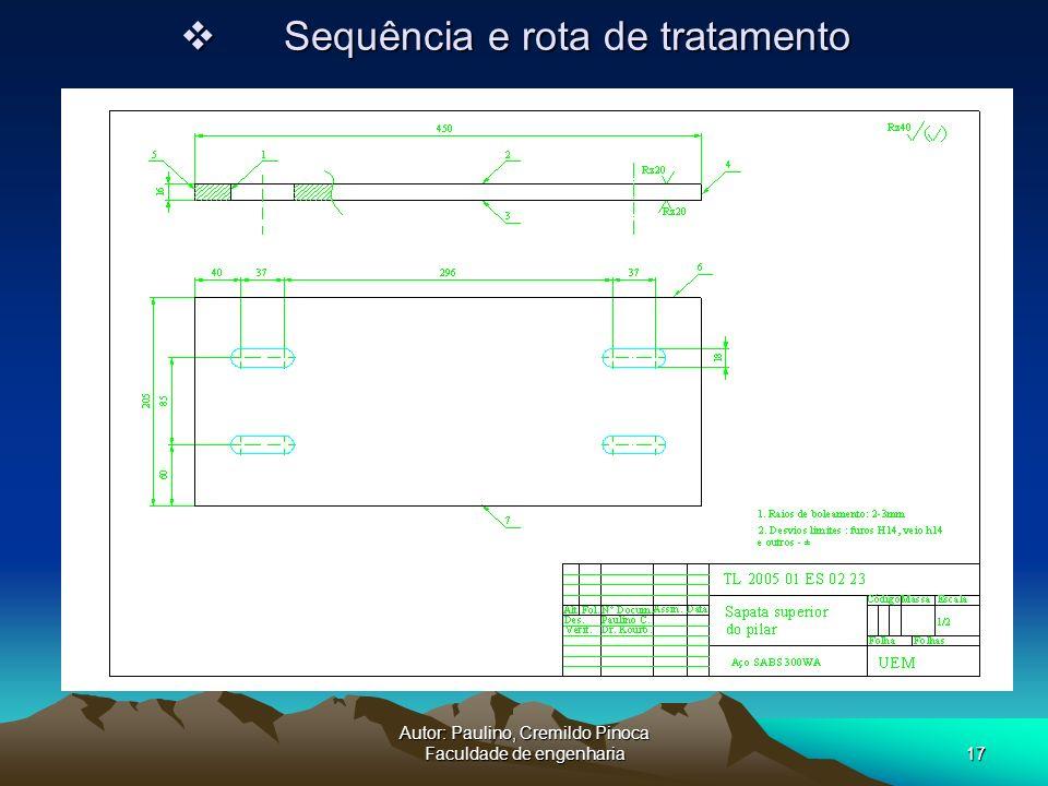 Autor: Paulino, Cremildo Pinoca Faculdade de engenharia17 Sequência e rota de tratamento Sequência e rota de tratamento