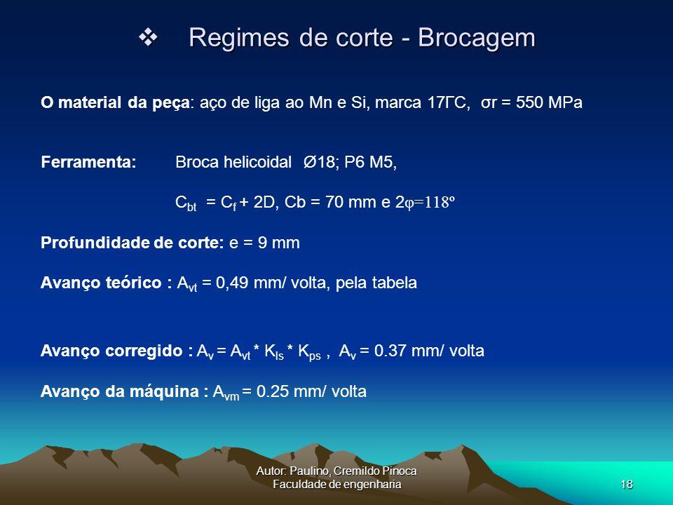 Autor: Paulino, Cremildo Pinoca Faculdade de engenharia18 Regimes de corte - Brocagem Regimes de corte - Brocagem Ferramenta: Broca helicoidal Ø18; P6
