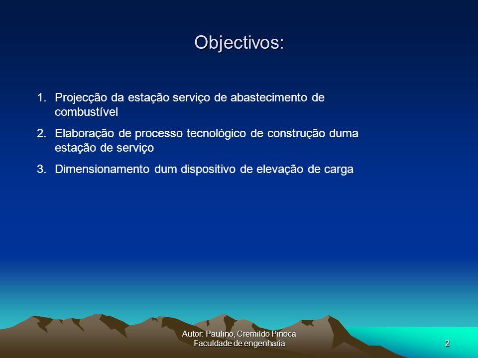 Autor: Paulino, Cremildo Pinoca Faculdade de engenharia2 Objectivos: 1.Projecção da estação serviço de abastecimento de combustível 2.Elaboração de pr