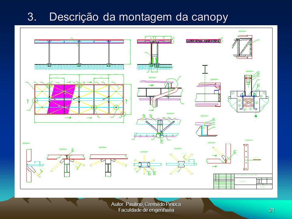 Autor: Paulino, Cremildo Pinoca Faculdade de engenharia21 3. Descrição da montagem da canopy