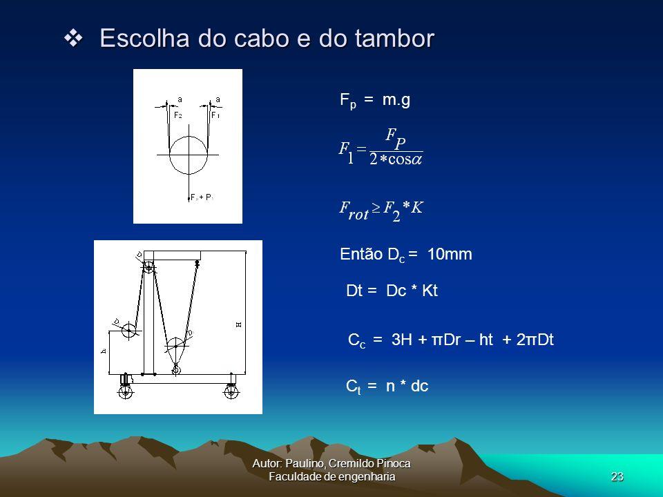 Autor: Paulino, Cremildo Pinoca Faculdade de engenharia23 Escolha do cabo e do tambor Escolha do cabo e do tambor F p = m.g Dt = Dc * Kt Então D c = 1