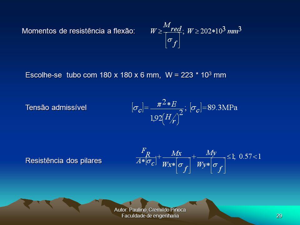 Autor: Paulino, Cremildo Pinoca Faculdade de engenharia29 Momentos de resistência a flexão: Escolhe-se tubo com 180 x 180 x 6 mm, W = 223 * 10 3 mm Re