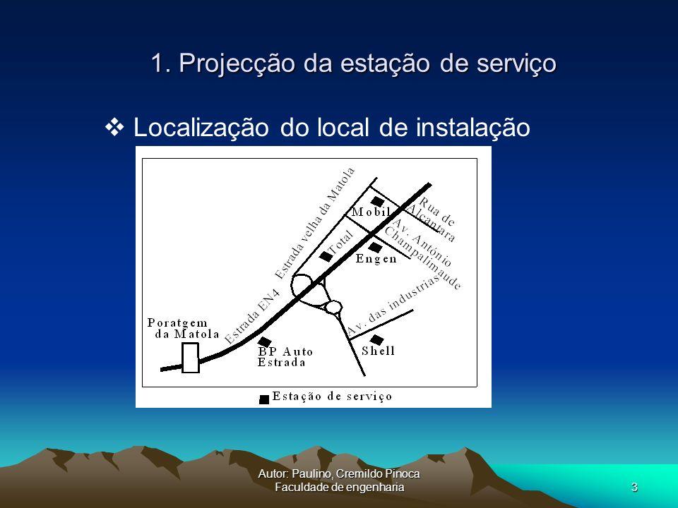 Autor: Paulino, Cremildo Pinoca Faculdade de engenharia3 1. Projecção da estação de serviço Localização do local de instalação