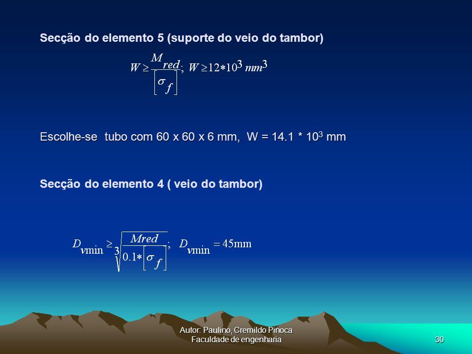 Autor: Paulino, Cremildo Pinoca Faculdade de engenharia30 Secção do elemento 4 ( veio do tambor) Secção do elemento 5 (suporte do veio do tambor) Esco
