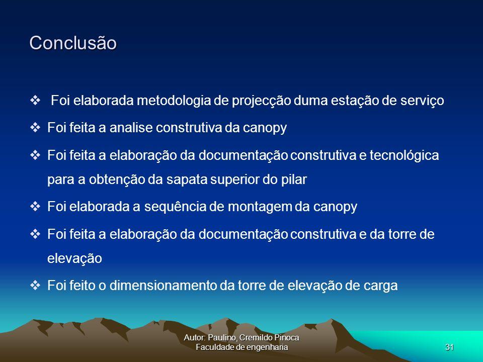 Autor: Paulino, Cremildo Pinoca Faculdade de engenharia31 Conclusão Foi elaborada metodologia de projecção duma estação de serviço Foi feita a analise