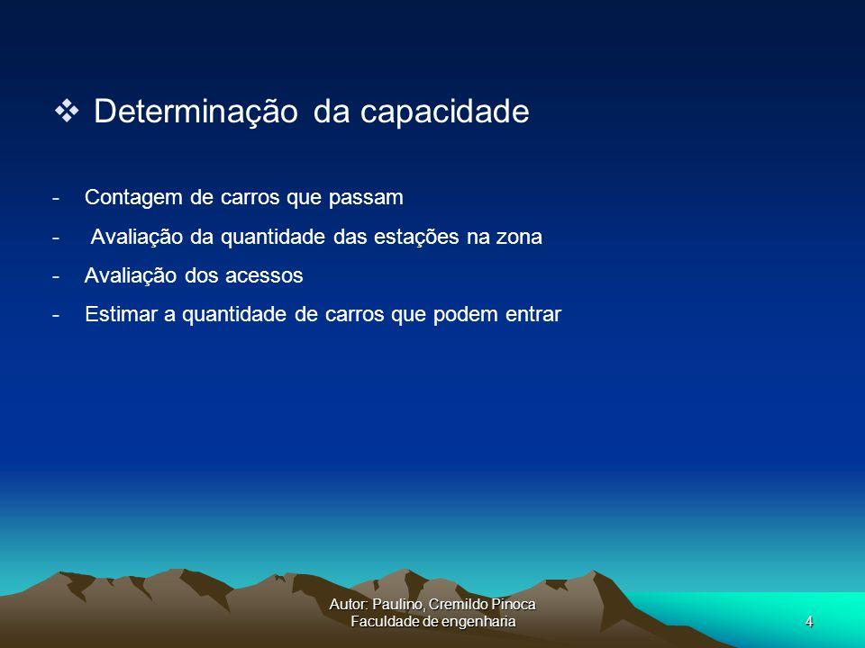 Autor: Paulino, Cremildo Pinoca Faculdade de engenharia4 Determinação da capacidade -Contagem de carros que passam - Avaliação da quantidade das estaç