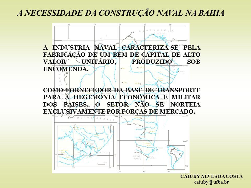 CAIUBY ALVES DA COSTA caiuby@ufba.br A CONSTRUÇÃO NAVAL NO BRASIL E NO MUNDO A BAHIA E A CONSTRUÇÃO NAVAL RETOMADA E AMPLIAÇÃO DA CONSTRUÇÃO NAVAL - BAHIA A NECESSIDADE DA CONSTRUÇÃO NAVAL NA BAHIA