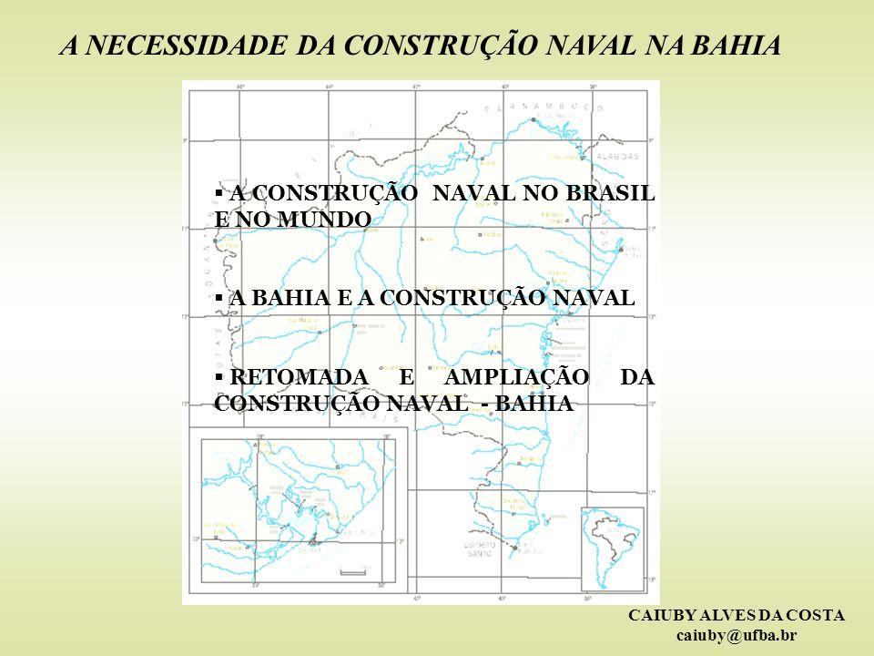 CAIUBY ALVES DA COSTA caiuby@ufba.br EVOLUÇÃO DA CONSTRUÇÃO NAVAL BRASILEIRA PRINCIPAIS PORTOS EM GRANÉIS SÓLIDOS PORTOTONELADAS% Tubarão – ES59.592.40029,4 Itaqui - MA41.355.26720,4 Sepetiba – RJ26.523.40713,1 Santos – SP16.107.7017,9 Paranaguá - PR10.821.2705,3 A soma dos 5 portos é 154.400.045 toneladas ou 76,1%.