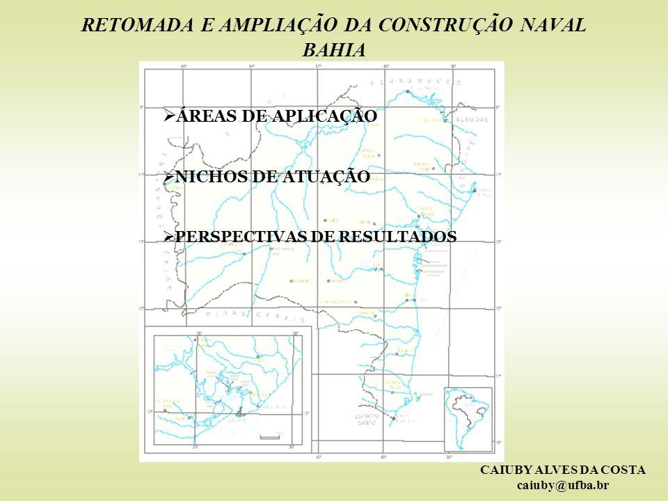 CAIUBY ALVES DA COSTA caiuby@ufba.br RETOMADA E AMPLIAÇÃO DA CONSTRUÇÃO NAVAL BAHIA ÁREAS DE APLICAÇÃO NICHOS DE ATUAÇÃO PERSPECTIVAS DE RESULTADOS