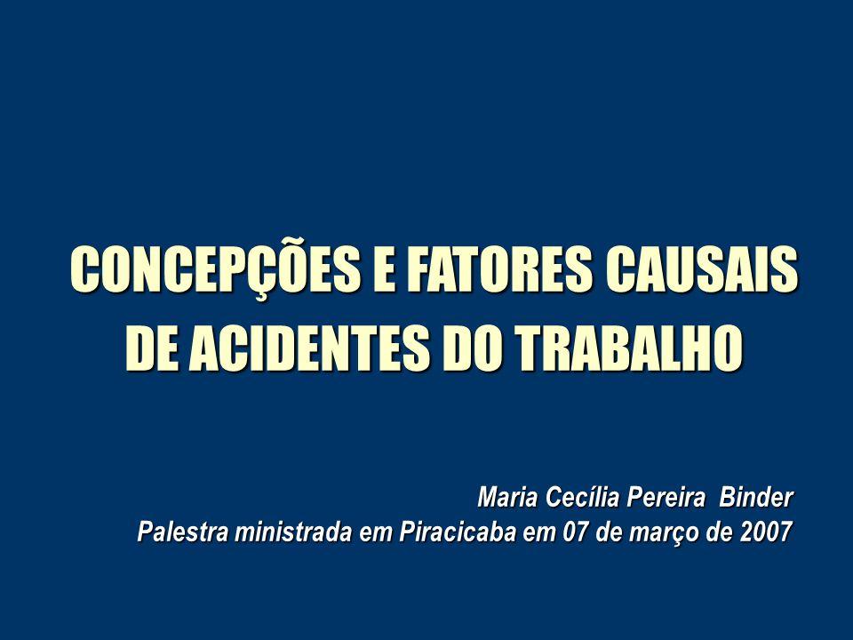 CONCEPÇÕES E FATORES CAUSAIS DE ACIDENTES DO TRABALHO Maria Cecília Pereira Binder Palestra ministrada em Piracicaba em 07 de março de 2007