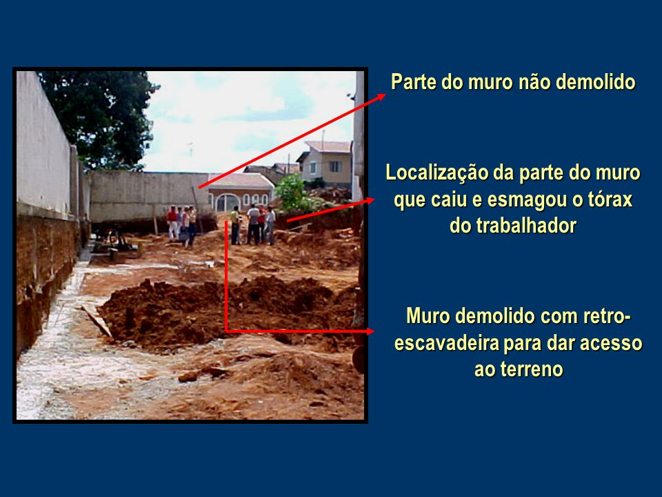 Parte do muro não demolido Localização da parte do muro que caiu e esmagou o tórax do trabalhador Muro demolido com retro- escavadeira para dar acesso ao terreno