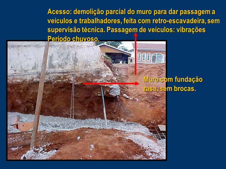 Muro com fundação rasa, sem brocas Muro com fundação rasa, sem brocas.