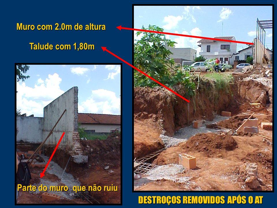 Talude com 1,80m Muro com 2.0m de altura DESTROÇOS REMOVIDOS APÓS O AT Parte do muro que não ruiu