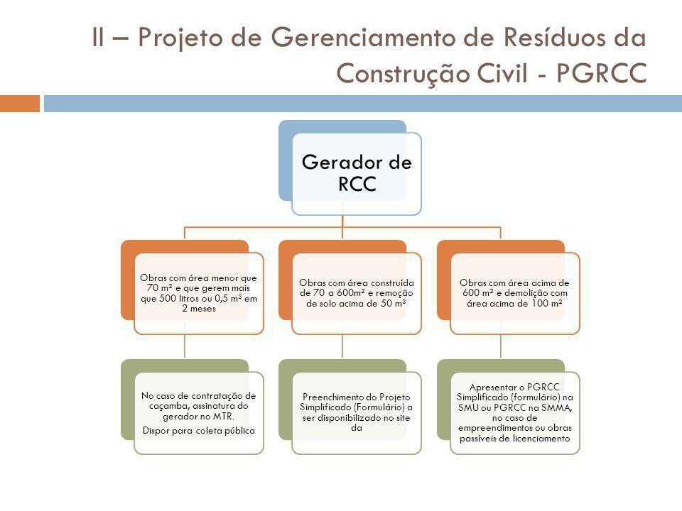 II – Projeto de Gerenciamento de Resíduos da Construção Civil - PGRCC Gerador de RCC Obras com área menor que 70 m² e que gerem mais que 500 litros ou