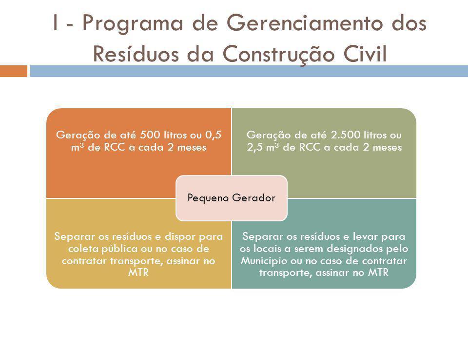 I - Programa de Gerenciamento dos Resíduos da Construção Civil Geração de até 500 litros ou 0,5 m³ de RCC a cada 2 meses Geração de até 2.500 litros o