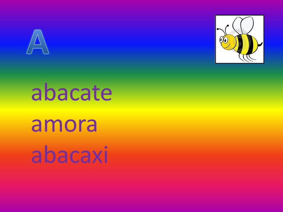 abacate amora abacaxi