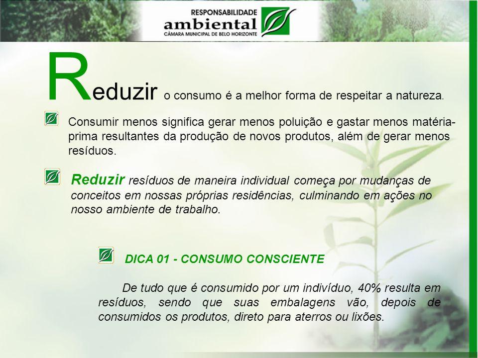 R eduzir o consumo é a melhor forma de respeitar a natureza. Consumir menos significa gerar menos poluição e gastar menos matéria- prima resultantes d